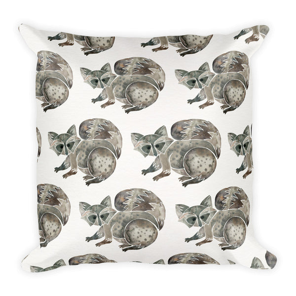 Raccoon – Warm Grey  •  Square Pillow