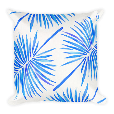 Fan Palm – Blue Palette  •  Square Pillow