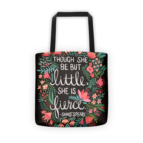 Little & Fierce on Charcoal  •  Tote Bag