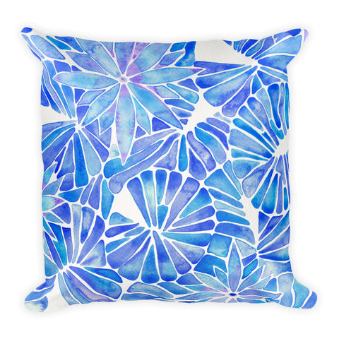 Water Lilies – Blue Palette  •  Square Pillow