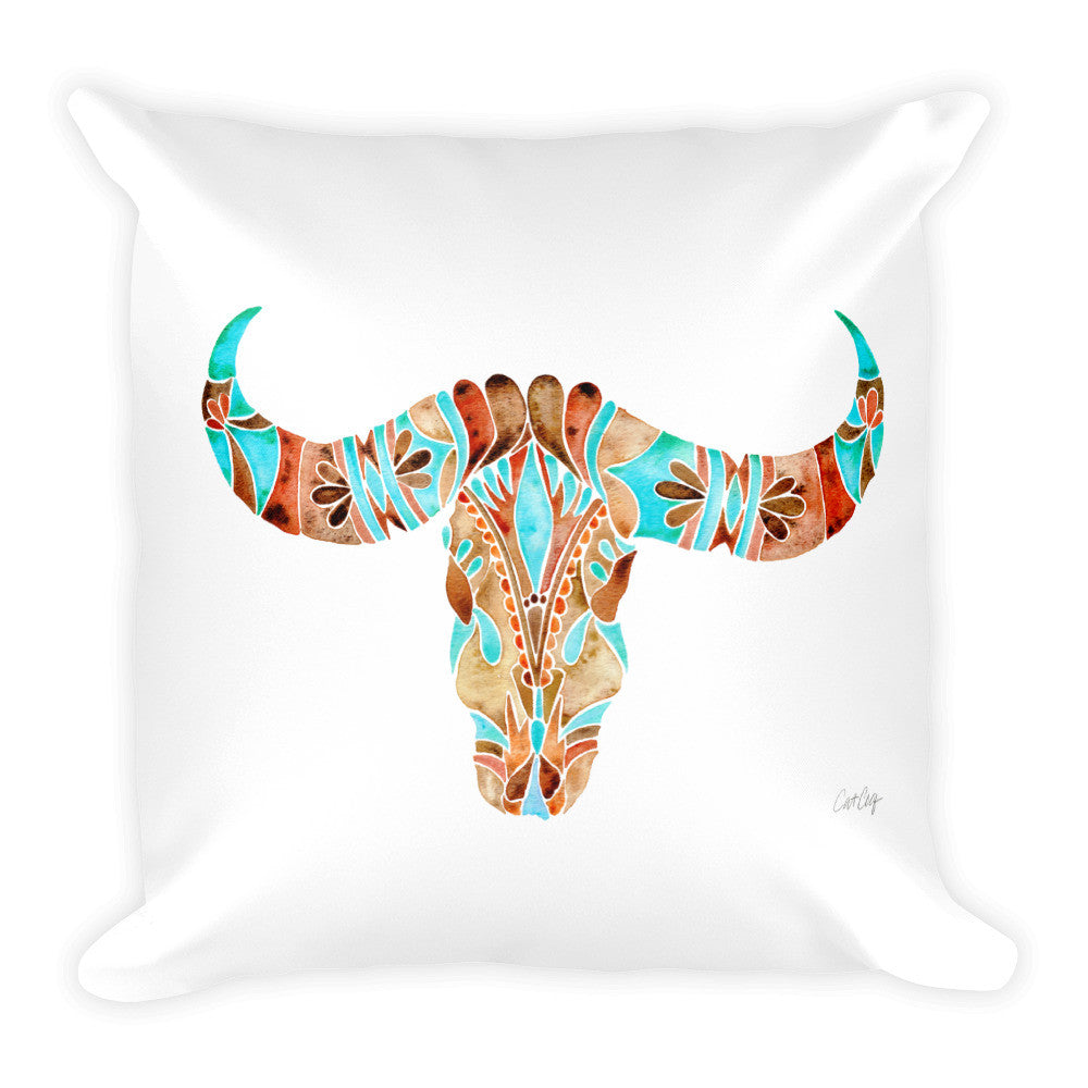 Water Buffalo Skull – Sepia & Turquoise Palette  •  Square Pillow