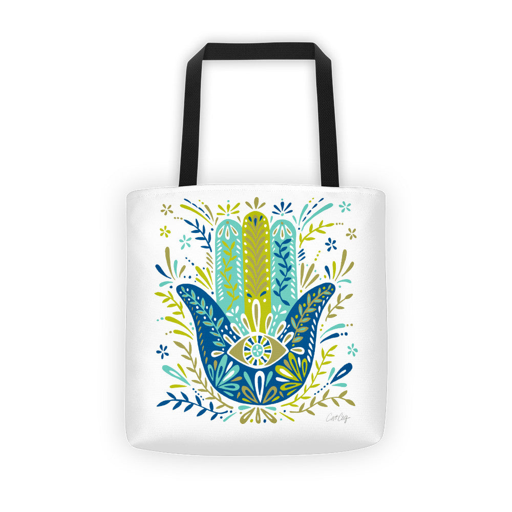 Hamsa Hand – Lime and Blue Palette  •  Tote Bag