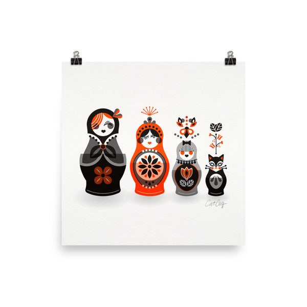 Russian Nesting Dolls – Red & Black Palette • Art Print