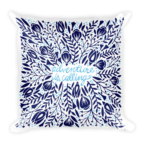 Adventure is Calling – Navy Palette  •  Square Pillow