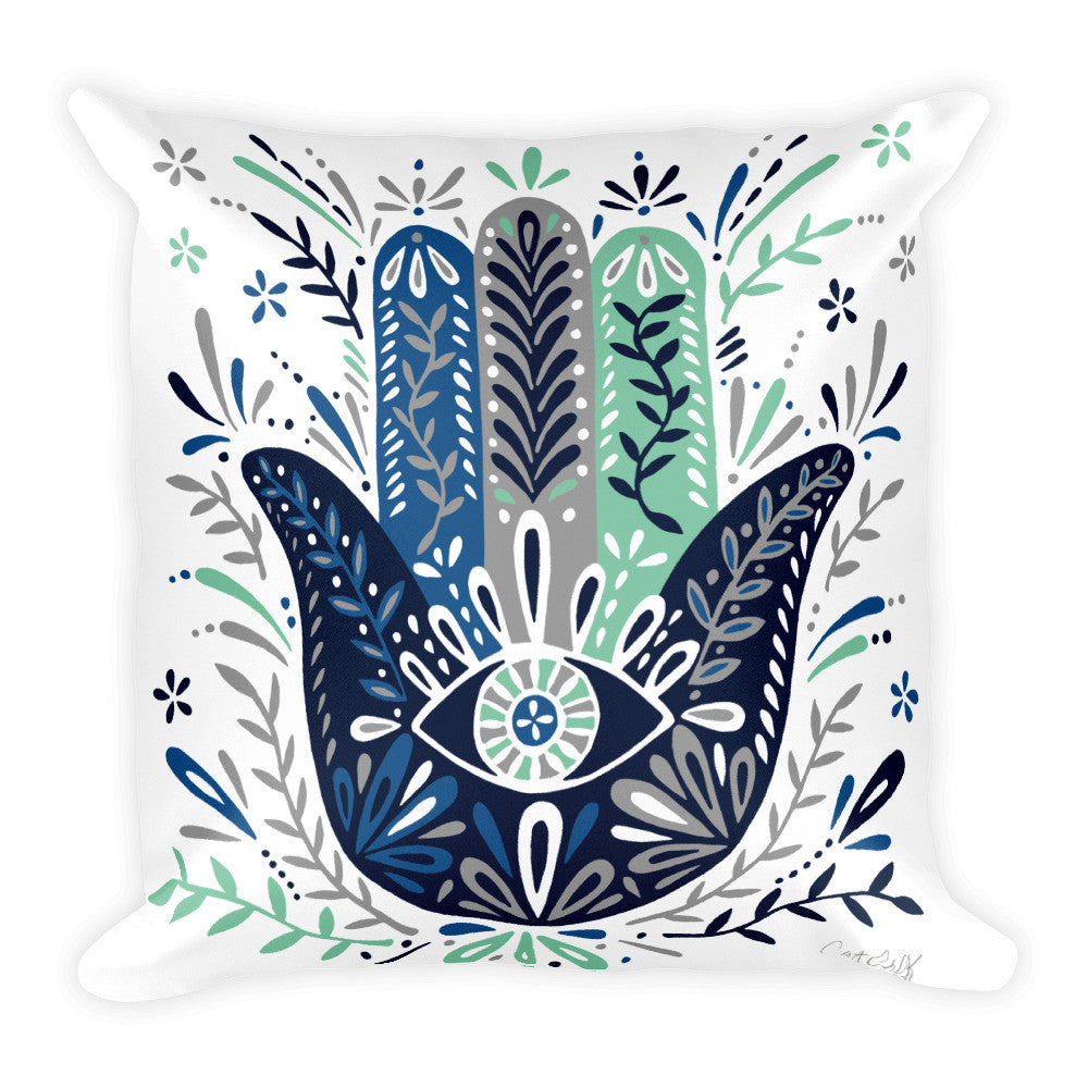 Hamsa Hand – Navy & Mint Palette  •  Square Pillow