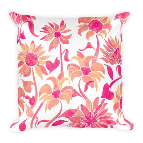 Sunflower Watercolor – Pink Palette • Square Pillow