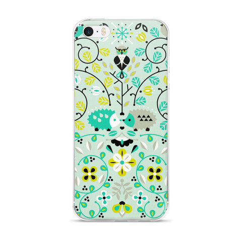 Hedgehog Lovers – Mint Green Palette  •  iPhone 5/5s/Se, 6/6s, 6/6s Plus Case