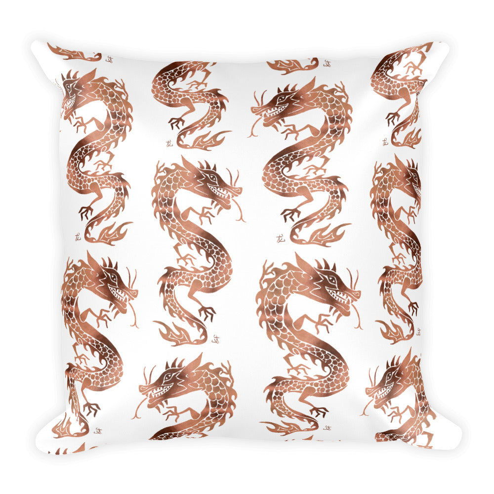 Chinese Dragon – Rose Gold Palette • Square Pillow