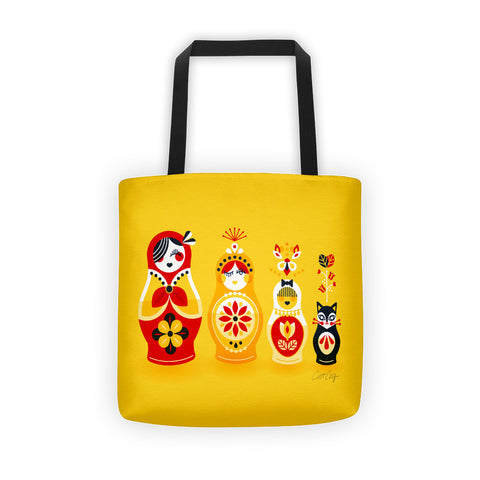 Russian Nesting Dolls – Cherry & Yellow Palette  •  Tote Bag
