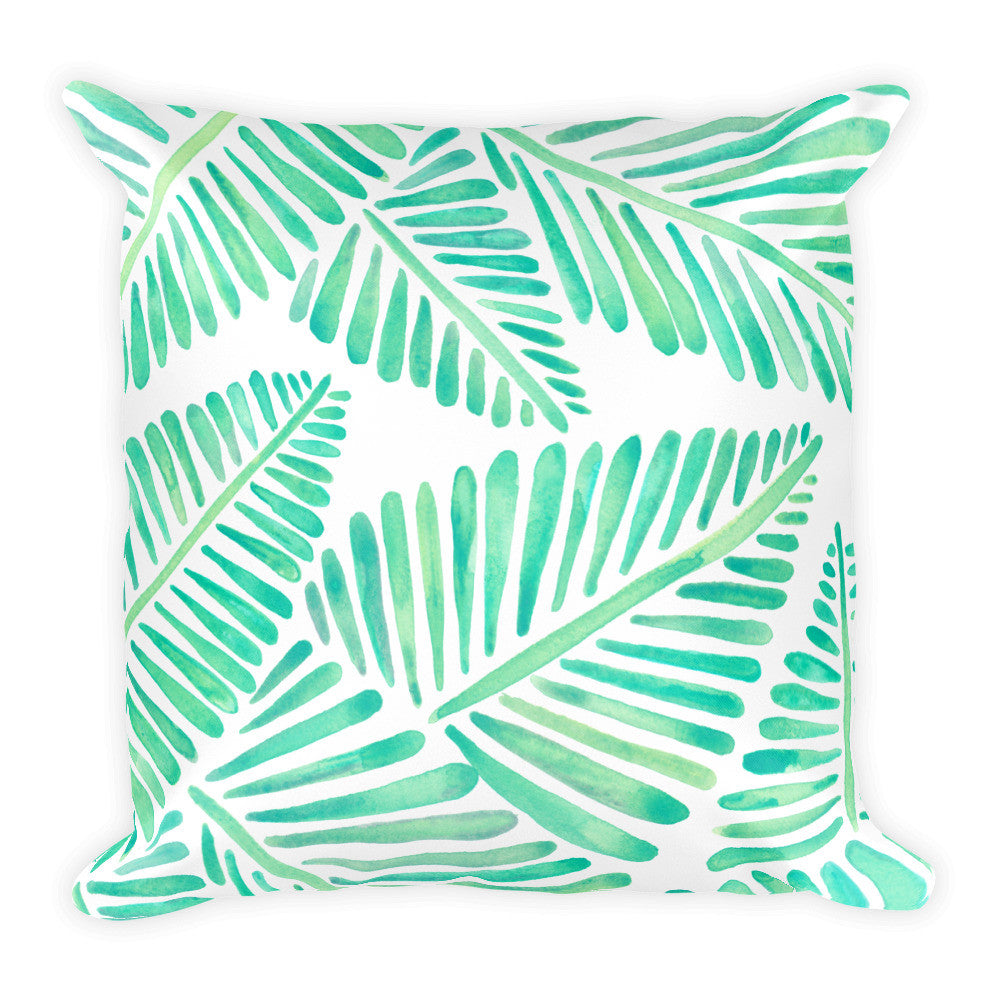 Banana Leaves – Mint Palette  •  Square Pillow