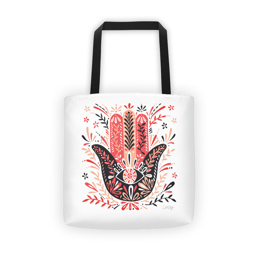 Hamsa Hand – Red & Black Palette  •  Tote Bag