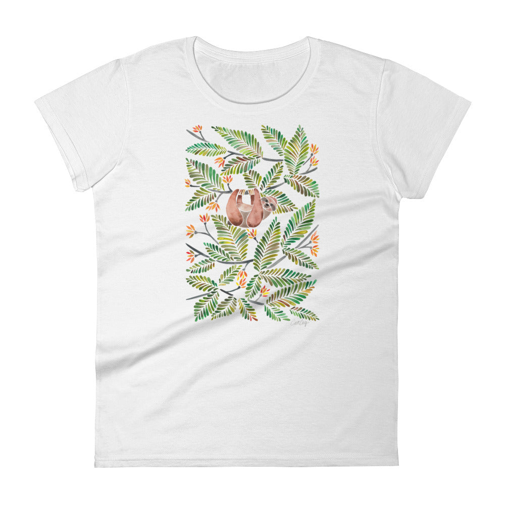 Happy Sloth – Tropical Green Rainforest • Women's short sleeve t-shirt