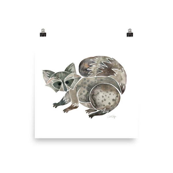 Raccoon – Warm Grey • Art Print