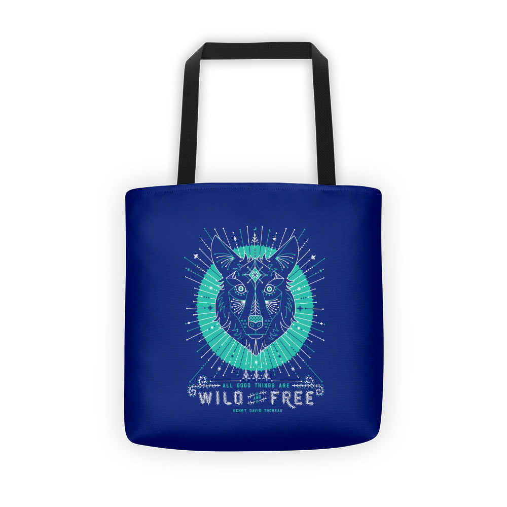 Wild & Free Wolf – Navy & Turquoise Palette  •  Tote Bag