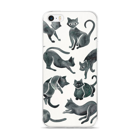 Cat Positions – Black Palette  •  iPhone 5/5s/Se, 6/6s, 6/6s Plus Case