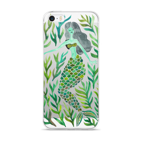 Kelp Forest Mermaid – Green Palette • iPhone 5/5s/Se, 6/6s, 6/6s Plus Case (Transparent)
