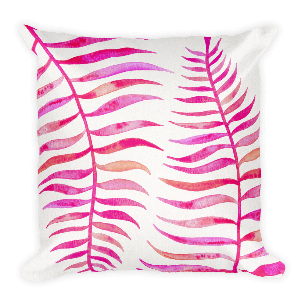 Palm Leaf – Pink Palette  •  Square Pillow