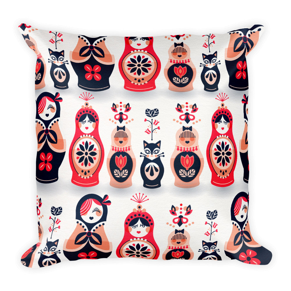 Russian Nesting Dolls – Hot Pink & Navy Palette  •  Square Pillow