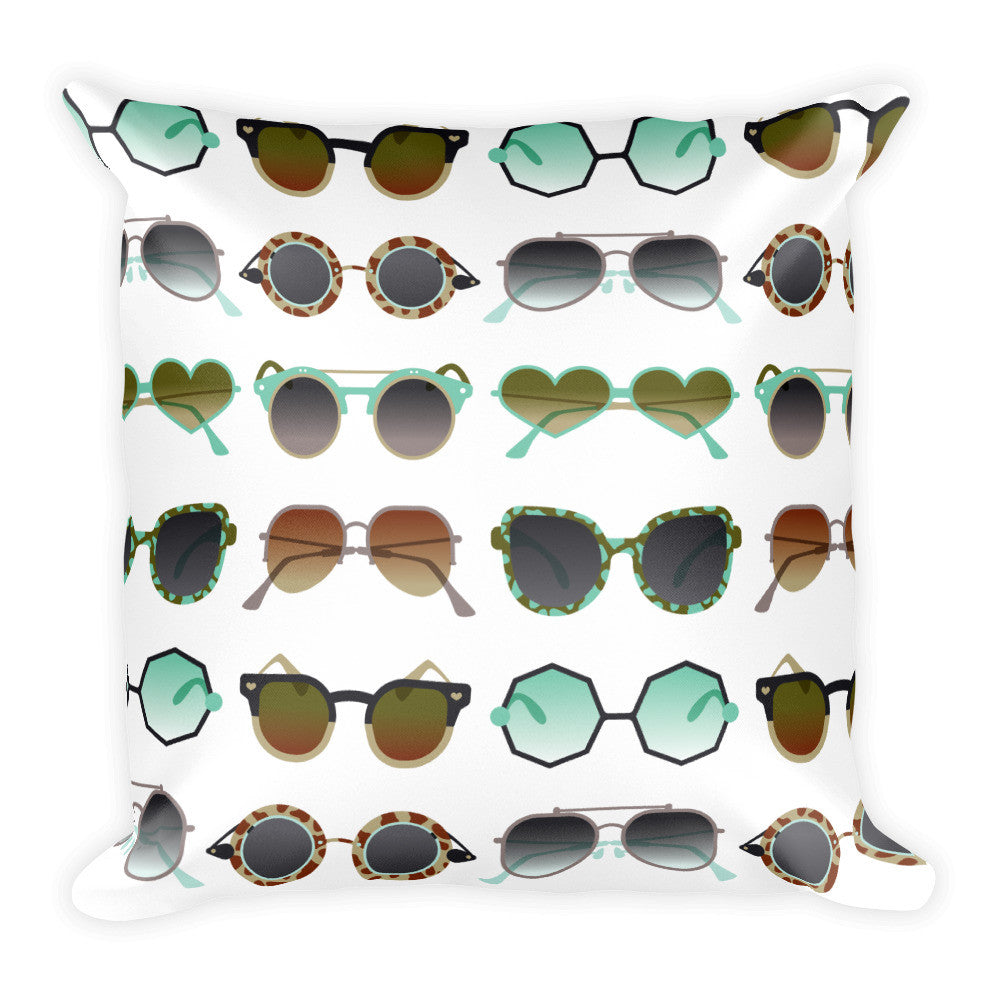 Sunglasses Collection – Mint & Tan Palette  •  Square Pillow