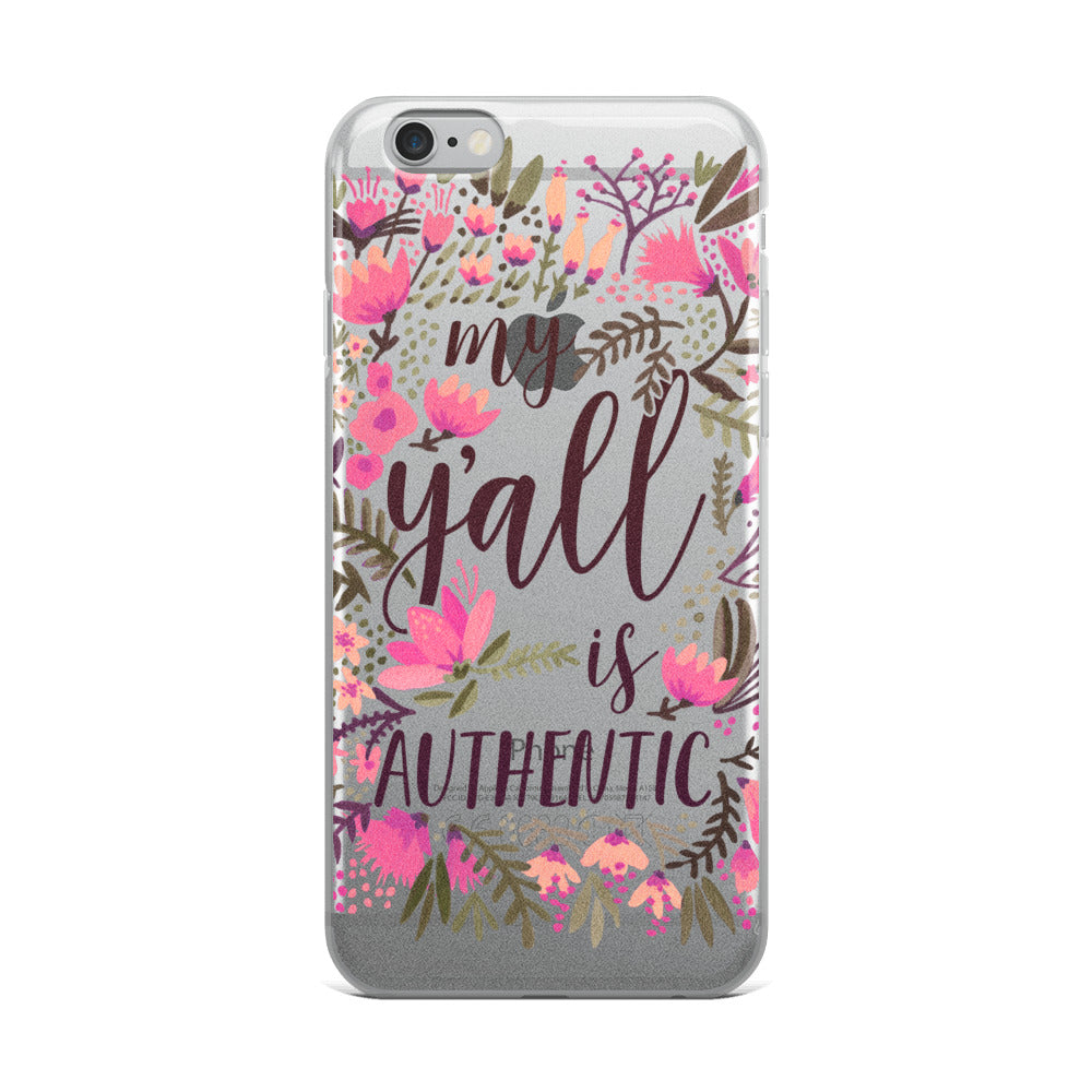 My Y'all is Authentic – Vintage Palette • iPhone Case (Transparent)