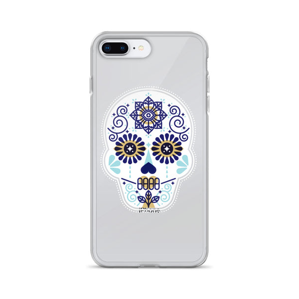 Día de Muertos – Mexican Sugar Skull – Baby Blue Palette • iPhone Case (Transparent)
