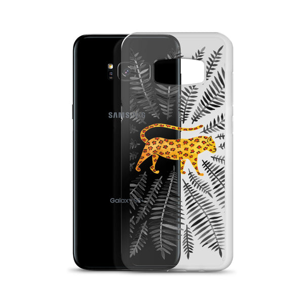 Jaguar – Black Leaves • Samsung Case (Transparent)