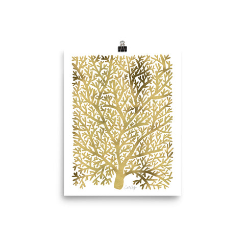 Fan Coral – Gold Palette • Art Print