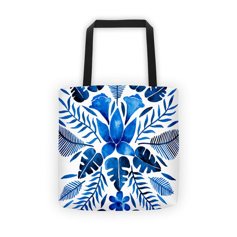 Tropical Symmetry – Navy Palette • Tote Bag