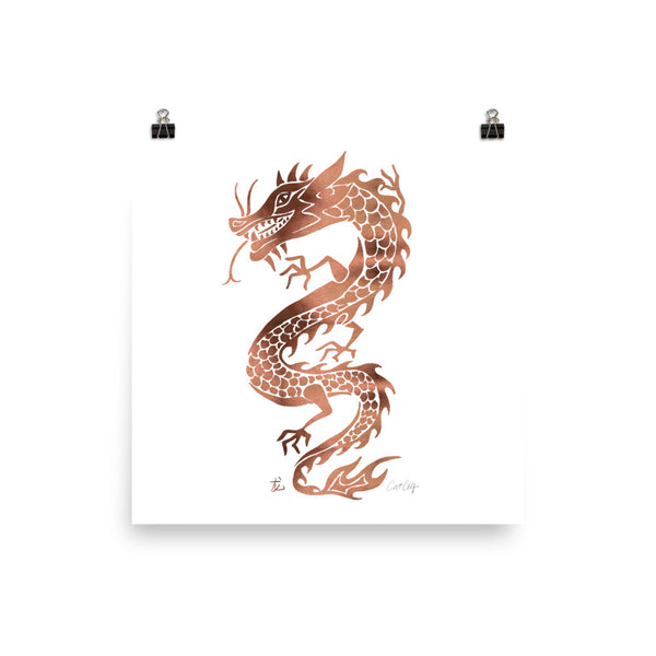 Chinese Dragon – Rose Gold Palette • Art Print