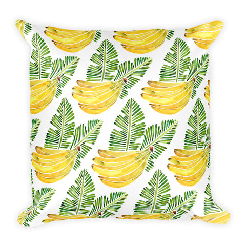 Banana Bunch – Yellow & Green  •  Square Pillow