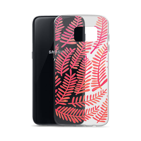 Fronds – Pink Palette • Samsung Case (Transparent)