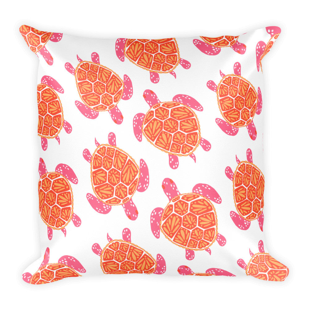 Sea Turtle – Melon Palette  •  Square Pillow