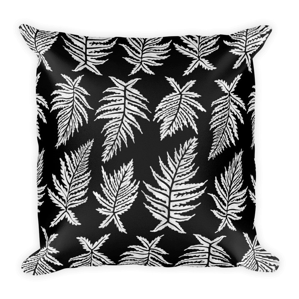 Inked Ferns – White Ink on Black • Square Pillow