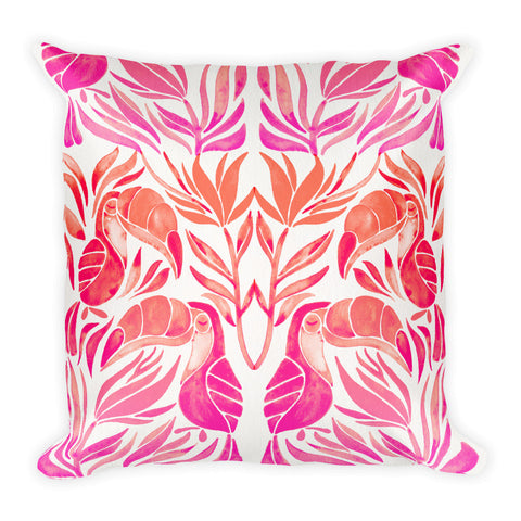 Tropical Toucans – Pink Palette  •  Square Pillow