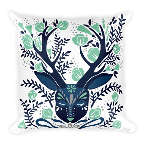 Floral Antlers – Navy & Mint Palette  •  Square Pillow