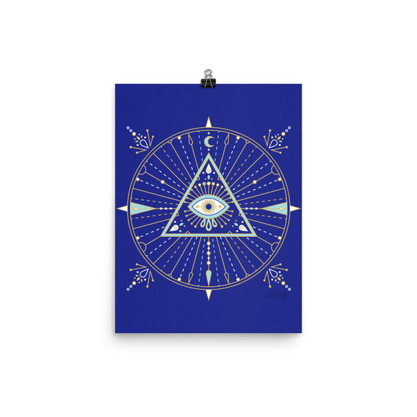 All-Seeing Eye Mandala – Navy Palette • Art Print