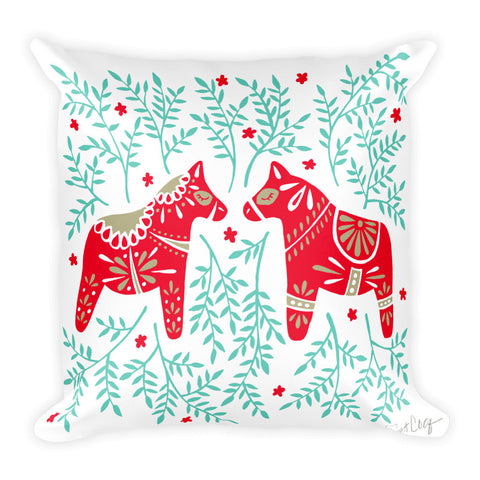 Swedish Dala Horses – Red & Mint Palette  •  Square Pillow