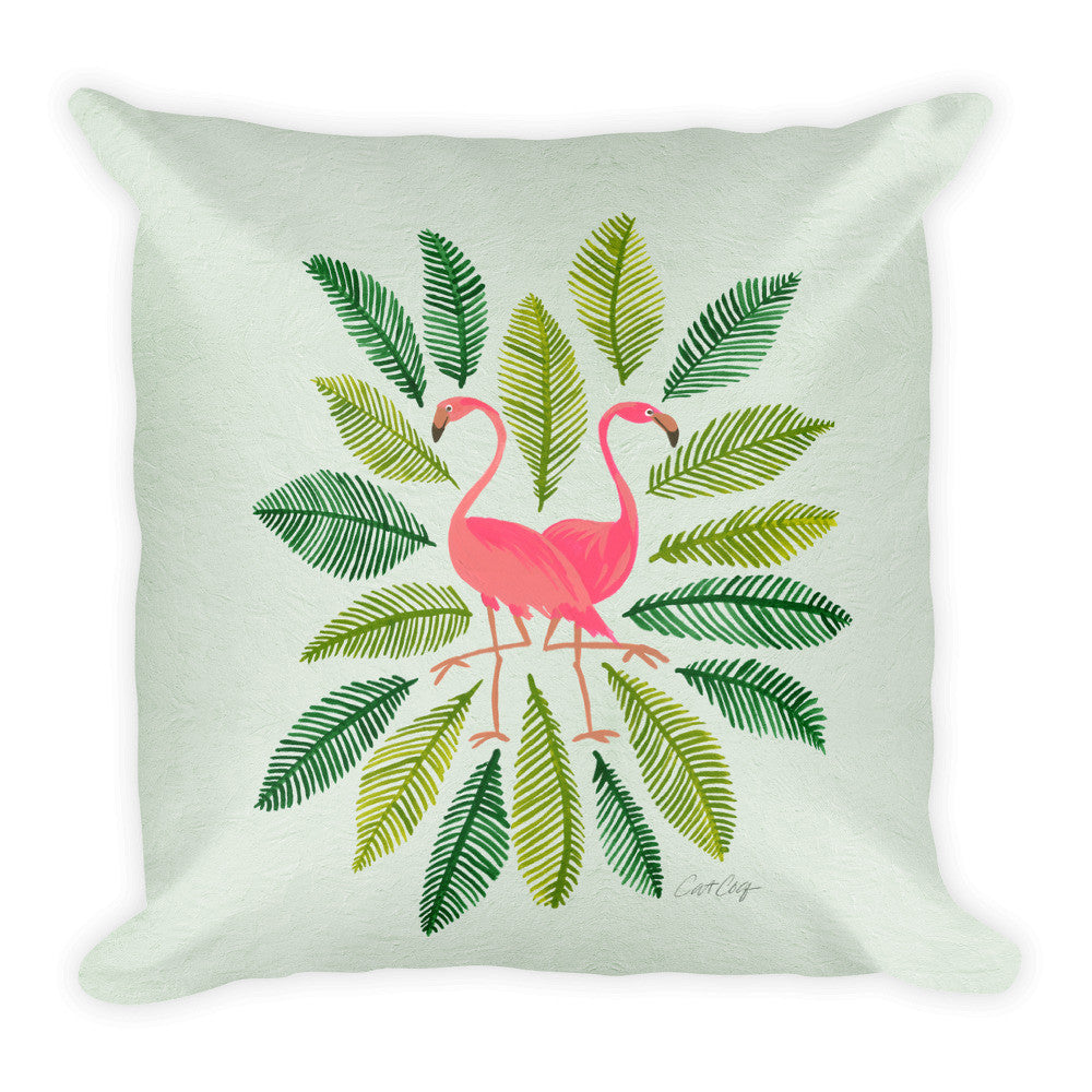 Flamingos and Fronds • Square Pillow