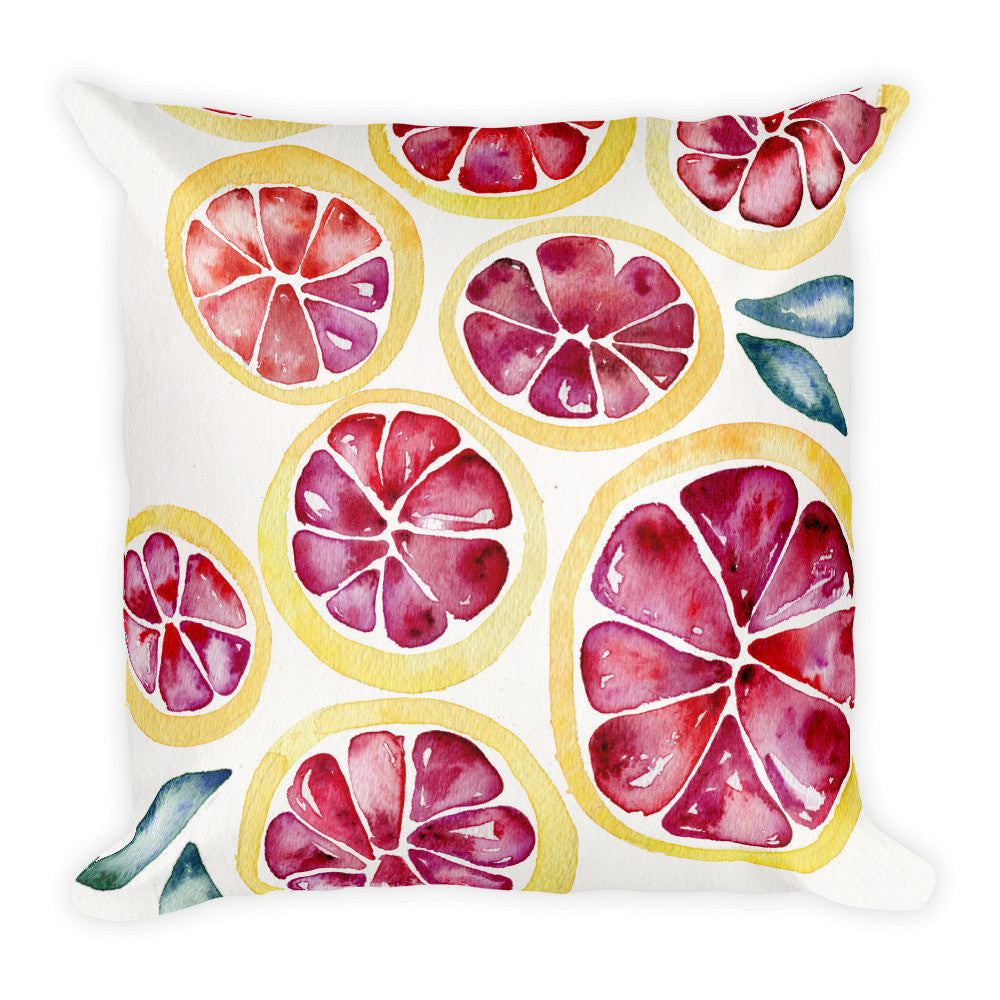 Grapefruit Slices  •  Square Pillow