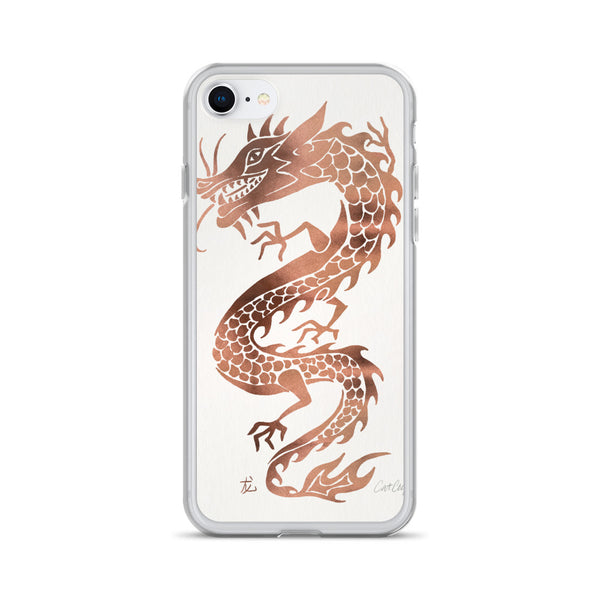 Chinese Dragon – Rose Gold Palette on White • iPhone Case