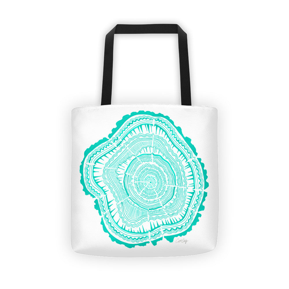 Tree Rings – Turquoise Palette • Tote Bag