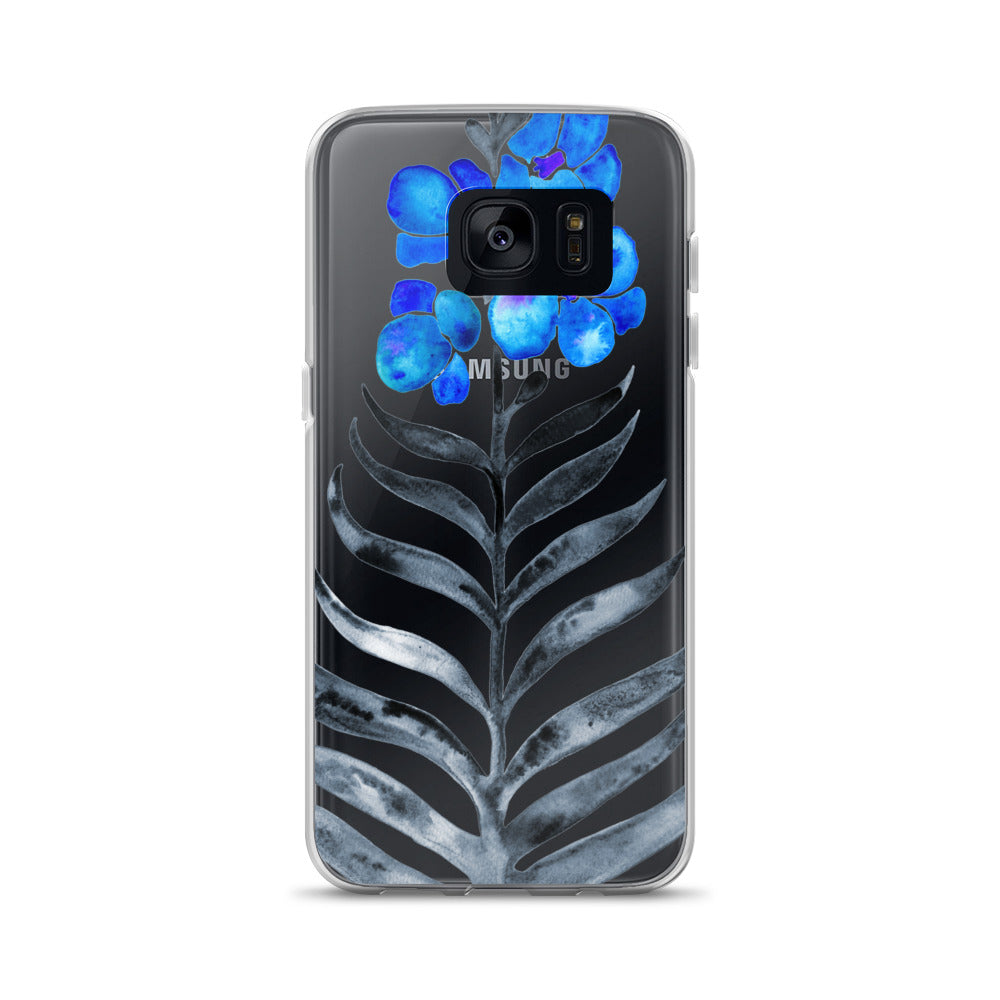 Orchid Bloom – Blue & Black Palette • Samsung Case (Transparent)