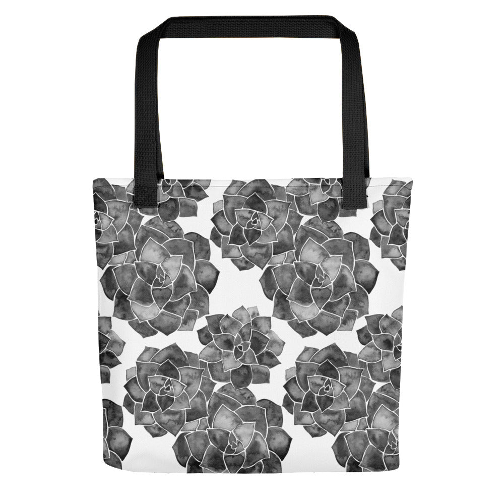 Rosette Succulents – Black Palette • Tote Bag