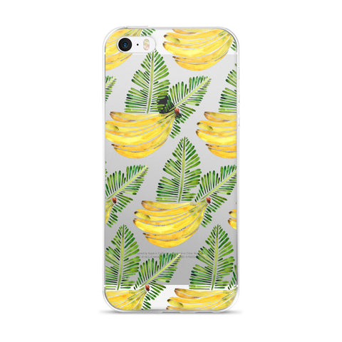 Banana Bunch – Yellow & Green  •  iPhone 5/5s/Se, 6/6s, 6/6s Plus Case (Transparent)