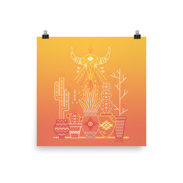 Santa Fe Garden – Orange Sunset Palette  •  Art Print