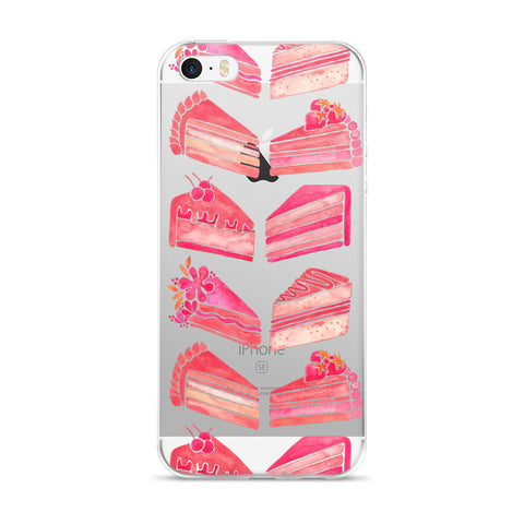 Cake Slices – Pink Ombré Palette • iPhone 5/5s/Se, 6/6s, 6/6s Plus Case (Transparent)