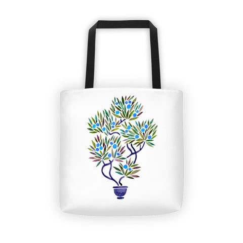 Bonsai Fruit Tree – Blue Palette  •  Tote Bag