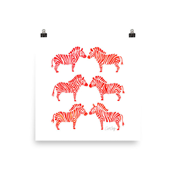 Zebra Collection – Red Palette • Art Print