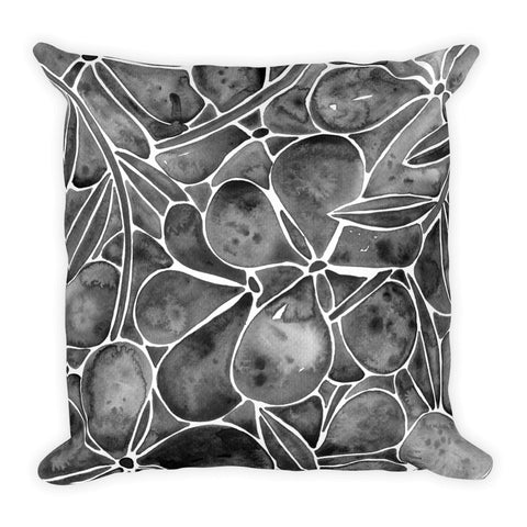 Orchid Wall – Black Palette  •  Square Pillow