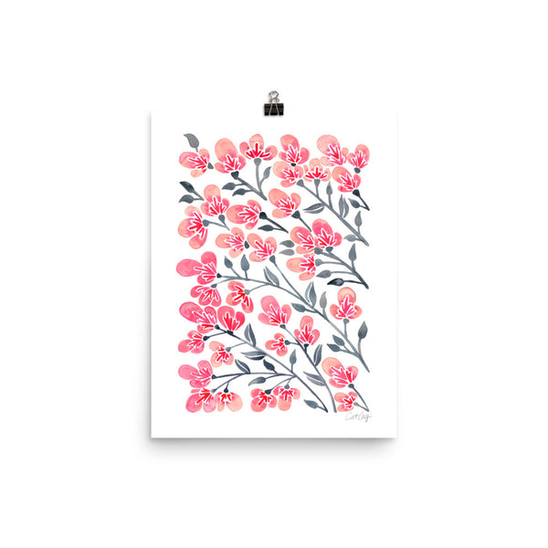 Cherry Blossoms – Pink & Grey Palette • Art Print